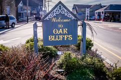 Sign welcoming visitors to Oak Bluffs Massachusetts on Martha`s Vineyard stock photos