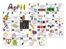 April 2020 Quirky Holidays and Unusual Celebrations Calendar. April 2020 calendar illustrated with daily Quirky Holidays and Unusual Celebrations vector illustration