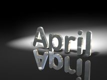 April reflection. German and English word for month April in reflection in black and white Royalty Free Stock Photography