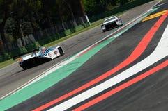 21 April 2018: Riccardo Patrese drive Lancia Martini LC1 prototype during Motor Legend Festival 2018. At Imola Circuit in Italy stock photo