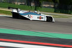 21 April 2018: Riccardo Patrese drive Lancia Martini LC1 prototype during Motor Legend Festival 2018 at Imola Circuit. In Italy royalty free stock photos