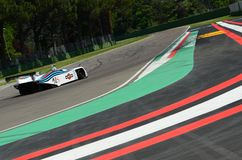 21 April 2018: Riccardo Patrese drive Lancia Martini LC1 prototype during Motor Legend Festival 2018 at Imola Circuit. In Italy stock image