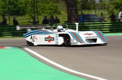 21 April 2018: Riccardo Patrese drive Lancia Martini LC1 prototype during Motor Legend Festival 2018 at Imola Circuit. In Italy stock photos