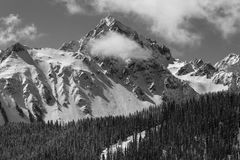 APRIL 27, 2017 RIDGWAY COLORADO - Aerial of Mount Sneffels with snow near Telluride Colorado, is,. Non-Urban Scene, White. APRIL 27, 2017 RIDGWAY COLORADO royalty free stock photography