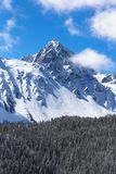 APRIL 27, 2017 RIDGWAY COLORADO - Aerial of Mount Sneffels with snow near Telluride Colorado, is,. Ridgway, Forest. APRIL 27, 2017 RIDGWAY COLORADO - Aerial of royalty free stock image