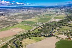 APRIL 27, 2017 RIDGWAY COLORADO - Aerial outside of San Juan Mountain Range North of Ridgway. Blue Sky, Non-Urban Scene. APRIL 27, 2017 RIDGWAY COLORADO - Aerial royalty free stock photos
