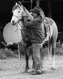 APRIL 22, 2017, RIDGWAY COLORADO: Cowboysadelhäst på den hundraårs- ranchen, Ridgway, Colorado - en nötkreaturranch ägde vid Vinc arkivbild