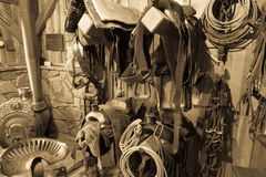 APRIL 22, 2017, RIDGWAY COLORADO: Horse Tack Room on Centennial Ranch, Ridgway, Colorado - a cattle ranch owned by Vince Kotny Royalty Free Stock Image