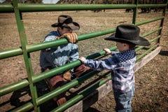 APRIL 22, 2017, RIDGWAY COLORADO: Young cowboy watches older Cowboys brand cattle on Centennial Ranch, Ridgway, Colorado - a ranch Stock Photos