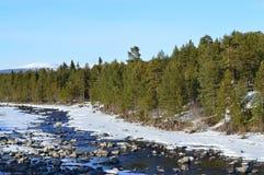 April.river Niva. Landscape;russia;kola;peninsula;river;niva;april;spring Stock Images