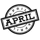 April rubber stamp. Grunge design with dust scratches. Effects can be easily removed for a clean, crisp look. Color is easily changed Stock Photos