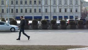 April 1, 2019, Russia, Moscow, traffic and people hurry about their business,
