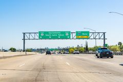 April 14, 2018 Sacramento / CA / USA - Driving on I50 towards Sacramento, the downtown skyline visible in the background stock images