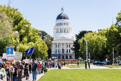 Scene from the March for Science 2018 taking place in Sacramento, California Stock Photography