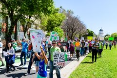 Scene from the March for Science 2018 taking place in Sacramento, California royalty free stock photo