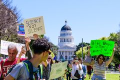 Scene from the March for Science 2018 taking place in Sacramento, California Stock Photos