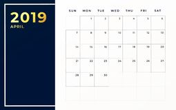 April 2019 schedule template. Week starts on sunday empty calendar month.  royalty free illustration
