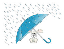 April Showers. Illustration of a rabbit taking shelter from the rain under an umbrella Stock Photos
