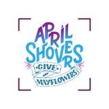 April Showers dà i mayflowers, insegna della molla Manifesto di tipografia con iscrizione Progettazione della primavera, segnante Fotografia Stock Libera da Diritti
