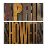 April Showers. The words APRIL SHOWERS written in vintage letterpress type Royalty Free Stock Photos