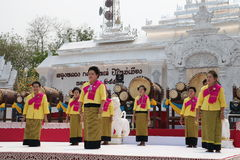 April 10, 2016 : soft focus of group of dancers perform at the songkran festival in lanna style, in the north of thailand at publi. C park (Khelang Nakorn Park) Royalty Free Stock Image