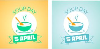 5 April Soup day. Calendar for each day on April 5. Holiday - Soup day. Icon in the linear style Stock Illustration