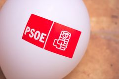 Balloon to make propaganda of the Spanish political party PSOE. April, 2019. Spain. A white balloon with the symbol of the Spanish socialist workers party PSOE stock photography