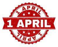 1 APRIL Stamp Seal texturisée grunge illustration de vecteur