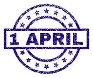 1 APRIL Stamp Seal texturisée rayée illustration libre de droits