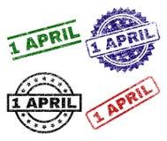 1 APRIL Stamp Seals texturisée rayée illustration stock