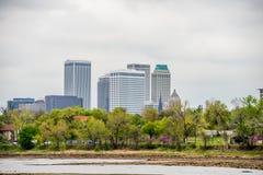 April 2015 - Stormy weather over Tulsa oklahoma Skyline Stock Photography
