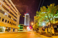 April 2015 - streets of amarillo texas. City skyline at night Royalty Free Stock Image