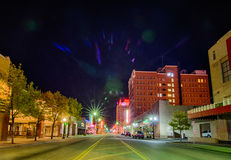 April 2015 - streets of amarillo texas. City skyline at night Stock Photography