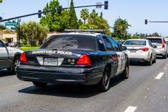 April 30, 2019 Sunnyvale / CA / USA - Police car driving on the streets of Sunnyvale, Santa Clara county stock photography
