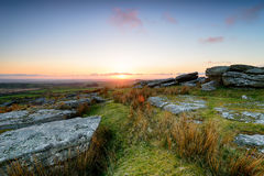 April Sunset on Bodmin Moor. April sunset from Alex Tor on Bodmin Moor in Cornwall Royalty Free Stock Photography