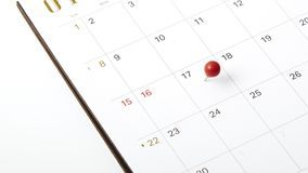 April 17, 2018 tax day. Red push pin on calendar or planner Stock Images