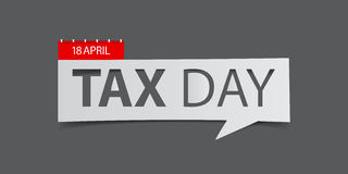 18 April Tax Day banner  on gray background. Banner design template in paper cutting art style. Vector illustration Royalty Free Stock Photography