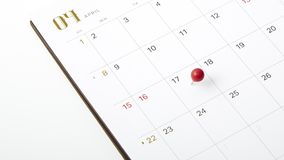April 17, 2018 tax day. Red push pin on calendar or planner Stock Photo