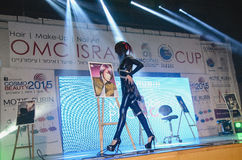April 27 - Tel Aviv, ISRAEL -Model in black walks on stage-OMC Cosmo beauty, 2015, Israel Stock Photos