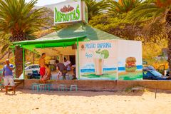 Kiosk of fresh beverages on the beach stock photography