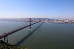 April 25th Bridge in Lisbon. April 25th Bridge above Tagus River in Lisbon. Portugal Royalty Free Stock Photo