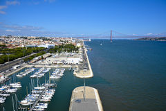 April 25th Bridge and Lisbon view Royalty Free Stock Images