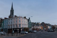 The town of Cobh, which sits on an island in Cork city's harbour. It's known as the Titanic's last port of call in 1912. April 18th, 2018, Cobh, county Stock Image
