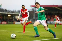 League of Ireland Premier Division match between Cork City FC vs St Patrick`s Athletic FC. April 12th, 2019, Cork, Ireland - League of Ireland Premier Division royalty free stock photo