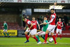League of Ireland Premier Division match between Cork City FC vs St Patrick`s Athletic FC. April 12th, 2019, Cork, Ireland - League of Ireland Premier Division royalty free stock photography