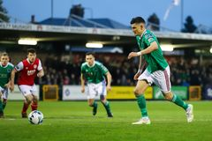 League of Ireland Premier Division match between Cork City FC vs St Patrick`s Athletic FC. April 12th, 2019, Cork, Ireland - League of Ireland Premier Division royalty free stock photos