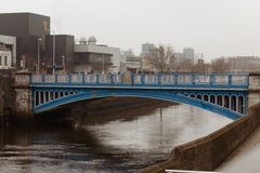 James Joyce Bridge, a road bridge spanning the River Liffey in Dublin, Ireland, joining the south quays to Blackhall Place on the stock image