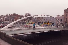 Rory O`More Bridge, road bridge spanning the River Liffey in Dublin, Ireland and joining Watling Street to Ellis Street and the no. April 12th, 2018, Dublin Royalty Free Stock Photo