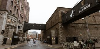 Surroundings of Guinness Storehouse, the brewery experience telling the tale of Ireland`s famous beer on St James`s Gate. April 12th, 2018, Dublin, Ireland Stock Photos