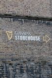 Wall detail at Guinness Storehouse, the brewery experience telling the tale of Ireland`s famous beer on St James`s Gate. April 12th, 2018, Dublin, Ireland Stock Photo